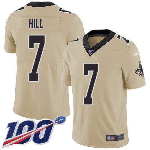 Nike Saints #7 Taysom Hill Gold Men's Stitched NFL Limited Inverted Legend 100th Season Jersey