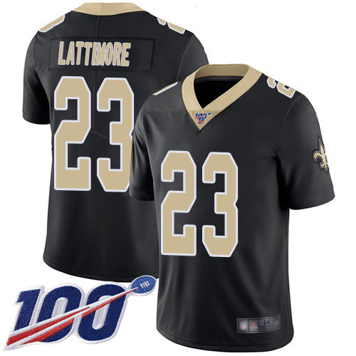 Nike Saints #23 Marshon Lattimore Black Team Color Men's Stitched NFL 100th Season Vapor Limited Jersey