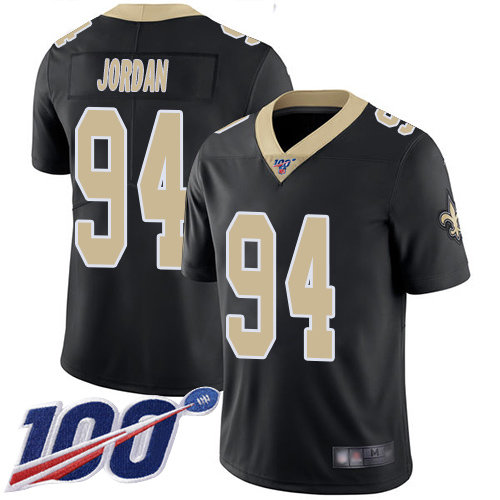 Nike Saints #94 Cameron Jordan Black Team Color Men's Stitched NFL 100th Season Vapor Limited Jersey