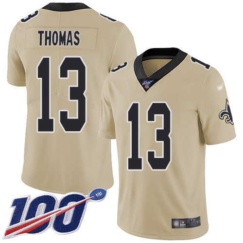 Nike Saints #13 Michael Thomas Gold Men's Stitched NFL Limited Inverted Legend 100th Season Jersey