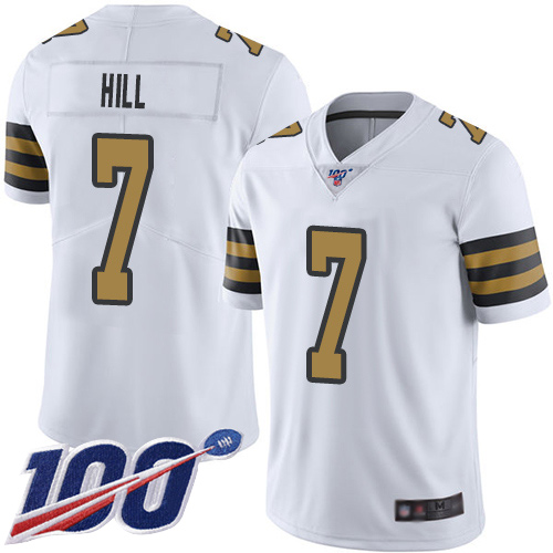 Nike Saints #7 Taysom Hill White Men's Stitched NFL Limited Rush 100th Season Jersey
