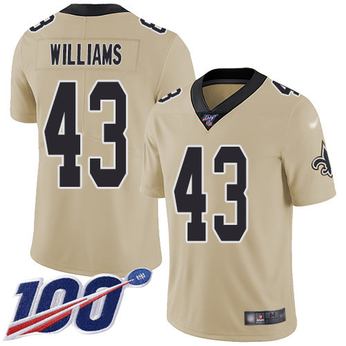 Nike Saints #43 Marcus Williams Gold Men's Stitched NFL Limited Inverted Legend 100th Season Jersey