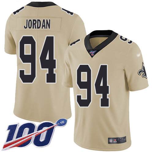 Nike Saints #94 Cameron Jordan Gold Men's Stitched NFL Limited Inverted Legend 100th Season Jersey