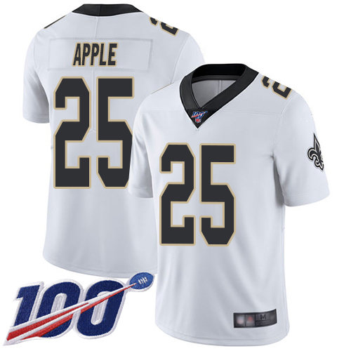 Nike Saints #25 Eli Apple White Men's Stitched NFL 100th Season Vapor Limited Jersey