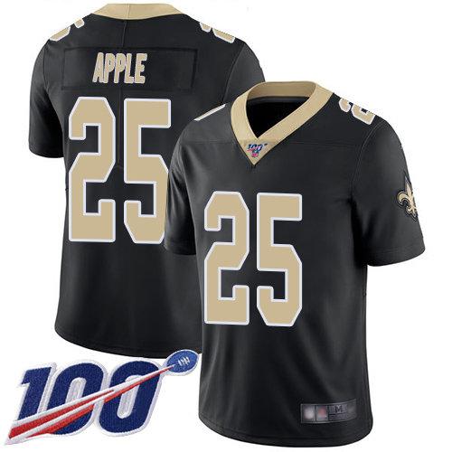 Nike Saints #25 Eli Apple Black Team Color Men's Stitched NFL 100th Season Vapor Limited Jersey