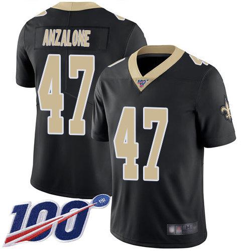 Nike Saints #47 Alex Anzalone Black Team Color Men's Stitched NFL 100th Season Vapor Limited Jersey