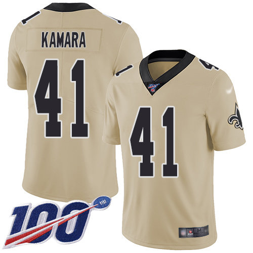 Nike Saints #41 Alvin Kamara Gold Men's Stitched NFL Limited Inverted Legend 100th Season Jersey