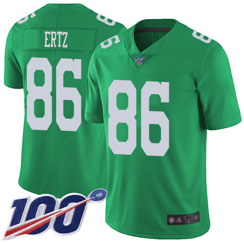 Nike Eagles #86 Zach Ertz Green Men's Stitched NFL Limited Rush 100th Season Jersey