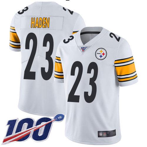 Nike Steelers #23 Joe Haden White Men's Stitched NFL 100th Season Vapor Limited Jersey