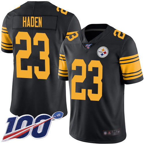 Nike Steelers #23 Joe Haden Black Men's Stitched NFL Limited Rush 100th Season Jersey