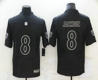 Men's Baltimore Ravens #8 Lamar Jackson Black Commemorative Edition 2020 Vapor Untouchable Stitched NFL Nike Limited Jersey