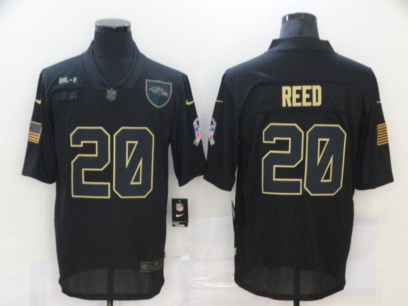 Men's Baltimore Ravens #20 Ed Reed Black 2020 Salute To Service Stitched NFL Nike Limited Jersey