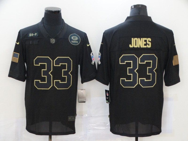 Men's Green Bay Packers #33 Aaron Jones Black 2020 Salute To Service Stitched NFL Nike Limited Jersey
