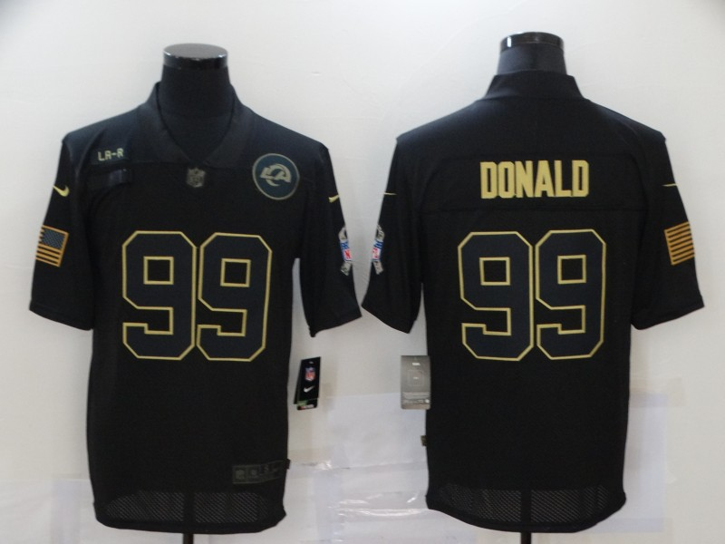 Men's Los Angeles Rams #99 Aaron Donald Black 2020 Salute To Service Stitched NFL Nike Limited Jersey