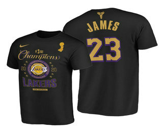 Los Angeles Lakers #23 LeBron James 2020 NBA Finals Champions Black Locker Room T-Shirt