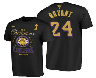Los Angeles Lakers #24 Kobe Bryant 2020 NBA Finals Champions Black Locker Room T-Shirt