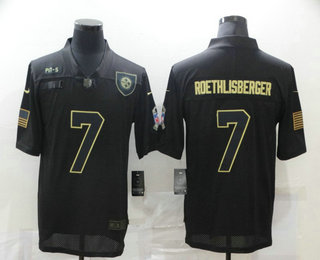 Men's Pittsburgh Steelers #7 Ben Roethlisberger Black 2020 Salute To Service Stitched NFL Nike Limited Jersey