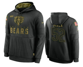 Men's Chicago Bears #52 Khalil Mack Black 2020 Salute to Service Sideline Performance Pullover Hoodie