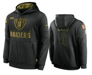 Men's Las Vegas Raiders #4 Derek Carr Black 2020 Salute To Service Sideline Performance Pullover Hoodie