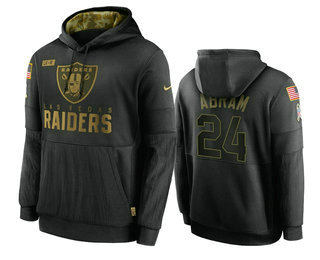 Men's Las Vegas Raiders #24 Johnathan Abram Black 2020 Salute To Service Sideline Performance Pullover Hoodie