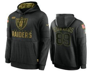 Men's Las Vegas Raiders #89 Bryan Edwards Black 2020 Salute To Service Sideline Performance Pullover Hoodie