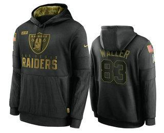 Men's Las Vegas Raiders #83 Darren Waller Black 2020 Salute To Service Sideline Performance Pullover Hoodie