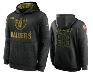 Men's Las Vegas Raiders #98 Maxx Crosby Black 2020 Salute To Service Sideline Performance Pullover Hoodie