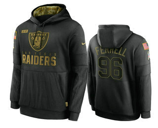 Men's Las Vegas Raiders #96 Clelin Ferrell Black 2020 Salute To Service Sideline Performance Pullover Hoodie