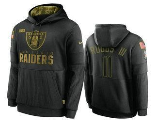 Men's Las Vegas Raiders #11 Henry Ruggs III Black 2020 Salute To Service Sideline Performance Pullover Hoodie