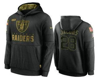 Men's Las Vegas Raiders #28 Josh Jacobs Black 2020 Salute To Service Sideline Performance Pullover Hoodie