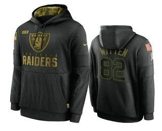 Men's Las Vegas Raiders #82 Jason Witten Black 2020 Salute To Service Sideline Performance Pullover Hoodie