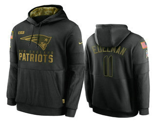 Men's New England Patriots #11 Julian Edelman Black 2020 Salute To Service Sideline Performance Pullover Hoodie