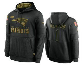 Men's New England Patriots #1 Cam Newton Black 2020 Salute To Service Sideline Performance Pullover Hoodie
