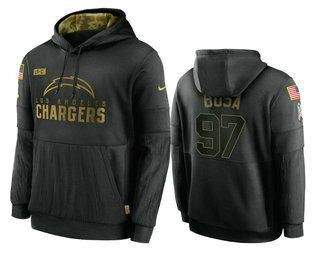 Men's Los Angeles Chargers #97 Joey Bosa Black 2020 Salute To Service Sideline Performance Pullover Hoodie