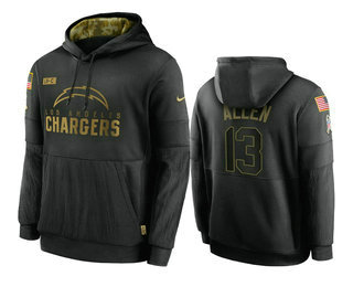 Men's Los Angeles Chargers #13 Keenan Allen Black 2020 Salute To Service Sideline Performance Pullover Hoodie