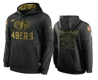 Men's San Francisco 49ers #25 Richard Sherman Black 2020 Salute To Service Sideline Performance Pullover Hoodie