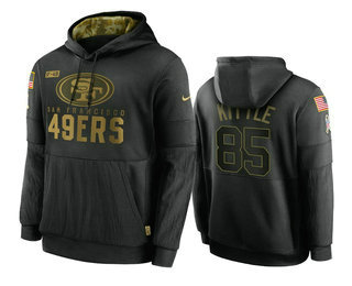 Men's San Francisco 49ers #85 George Kittle Black 2020 Salute To Service Sideline Performance Pullover Hoodie