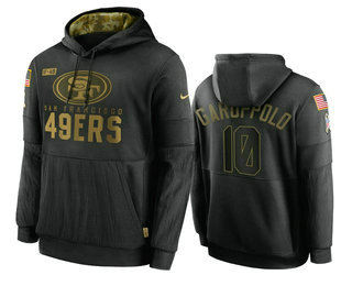 Men's San Francisco 49ers #10 Jimmy Garoppolo Black 2020 Salute To Service Sideline Performance Pullover Hoodie