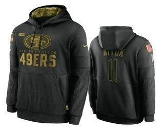 Men's San Francisco 49ers #11 Brandon Aiyuk Black 2020 Salute To Service Sideline Performance Pullover Hoodie