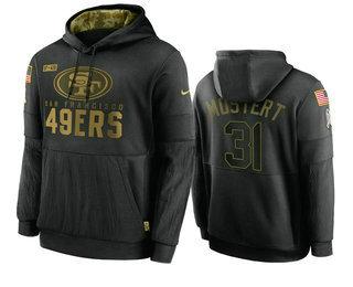 Men's San Francisco 49ers #31 Raheem Mostert Black 2020 Salute To Service Sideline Performance Pullover Hoodie