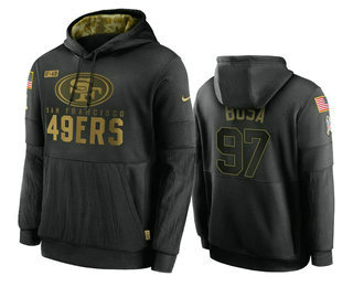 Men's San Francisco 49ers #97 Nick Bosa Black 2020 Salute To Service Sideline Performance Pullover Hoodie