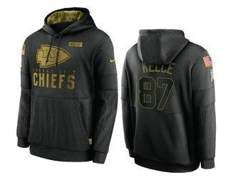 Men's Kansas City Chiefs #87 Travis Kelce Black 2020 Salute To Service Sideline Performance Pullover Hoodie