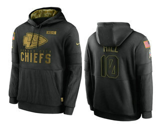 Men's Kansas City Chiefs #10 Tyreek Hill Black 2020 Salute To Service Sideline Performance Pullover Hoodie
