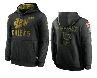Men's Kansas City Chiefs #15 Patrick Mahomes Black 2020 Salute To Service Sideline Performance Pullover Hoodie
