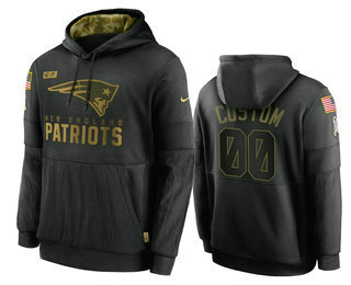 Men's New England Patriots Custom Black 2020 Salute To Service Sideline Performance Pullover Hoodie