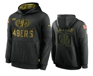 Men's San Francisco 49ers Custom Black 2020 Salute To Service Sideline Performance Pullover Hoodie
