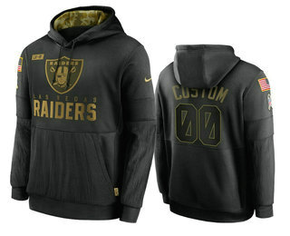 Men's Las Vegas Raiders Custom Black 2020 Salute To Service Sideline Performance Pullover Hoodie