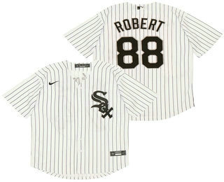 Men's Chicago White Sox #88 Luis Robert White Pinstripe Stitched MLB Cool Base Nike Jersey