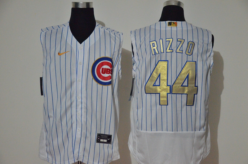 Men's Chicago Cubs #44 Anthony Rizzo White Gold 2020 Cool and Refreshing Sleeveless Fan Stitched Flex Nike Jersey