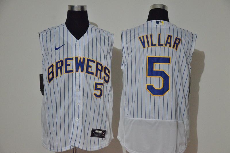 Men's Milwaukee Brewers #5 Jonathan Villar White 2020 Cool and Refreshing Sleeveless Fan Stitched Flex Nike Jersey